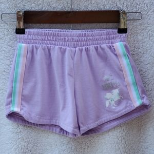 "Girls Purple Play Shorts ""100% Unicorn"""